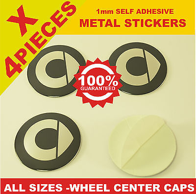 wheel center caps 4x metal STICKERS front rear badge hub emblem cover SMART