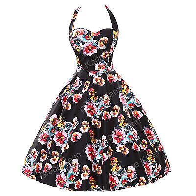 Vintage Retro Halter 50S 60S Floral swing Pinup Short Housewife Dress