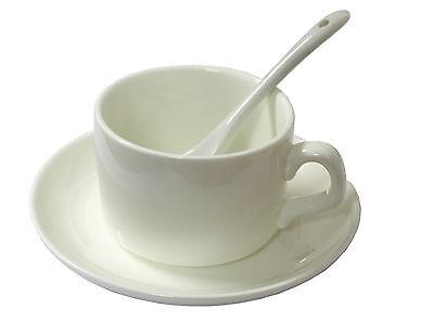 36 x 5oz COFFEE MUG, SAUCER AND SPOON CERAMIC SUBLIMATION MUGS FOR HEAT PRESS
