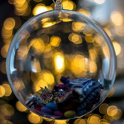 Christmas Xmas Decoration Ornament Tree Transparent Clear Plastic Bauble