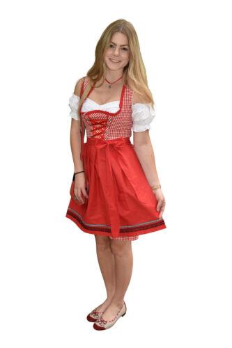 Dirndl Trachtenkleid 476GT Rot Weiß kariert Oktoberfest Gr 34 36 38 40 42