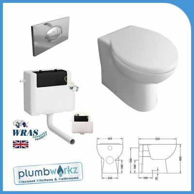 Back To Wall Toilet Pan Cistern Soft Close Seat Free large Flush Fixings