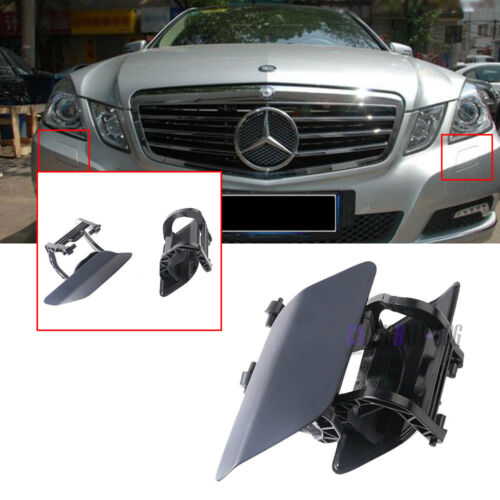 For Mercedes E-CLASS W212 E500 E350 Pair Front Headlight Washer Nozzle Cover L+R