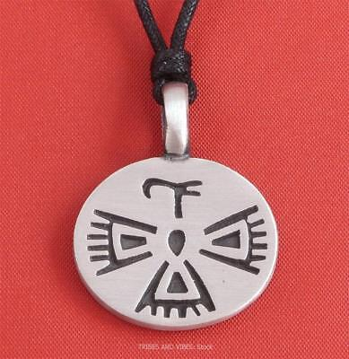 Pewter Red Indian Native American Coin Feathers Spiritual Pendant Necklace