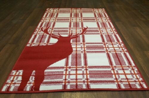 Modern Approx 5x2ft6 80x150cm Woven Top Quality Stag checks Red//Cream Rugs//Mats
