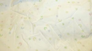 Fitted Crib Sheet Just Born pastel moons stars pink blue green yellow cotton