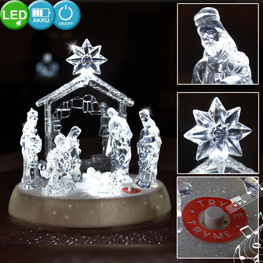 XMAS LED Table Lamp Lamp Glass Nativity Music Christmas Decoration Lighting