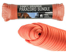 Orange 550 Cord 100 Ft Paracord Lanyard Type III 7 Strand Camping Survival NEW