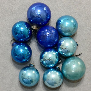 Christmas-Ornament-Glass-FEATHER-TREE-JAPAN-Small-Blue-Green-Gold-Lot-of-17