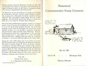 1198-C1-First-Day-Ceremony-Program-4c-Homestead-Act-Stamp-w-FDC