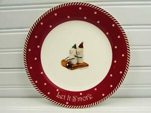 Let-It-S-039-More-by-Nikko-Salad-Plate-Sledding-Marshmallow-People-Brown-Rim-b57