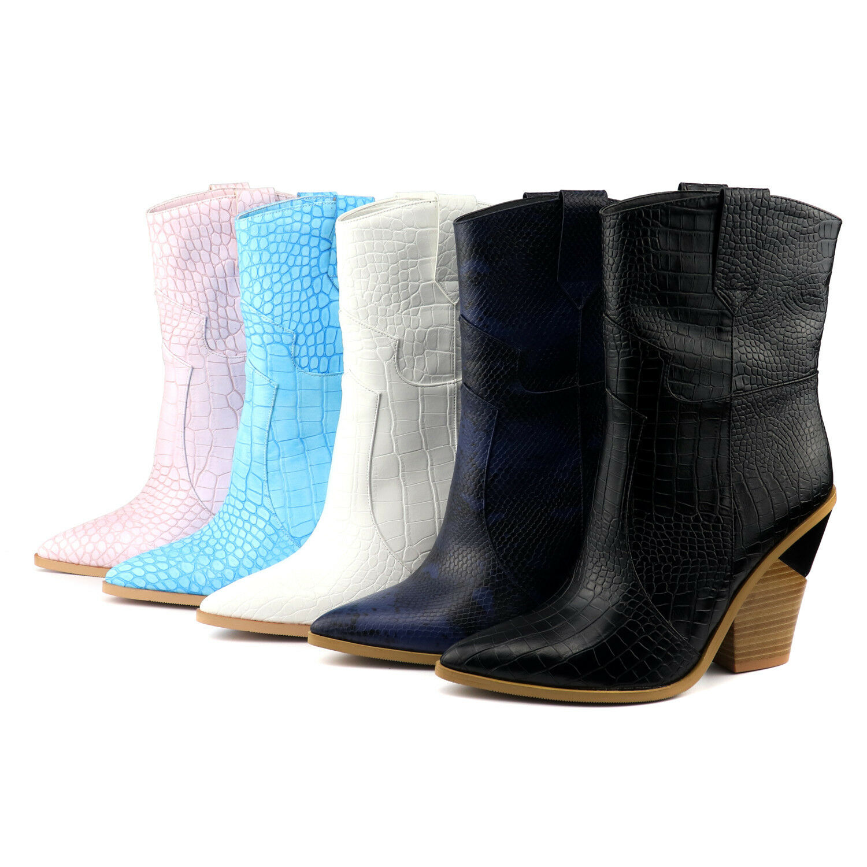 Emboss Women Mid-calf Boots Western Cowboy Boots Slip On Chunky High Heels Boots