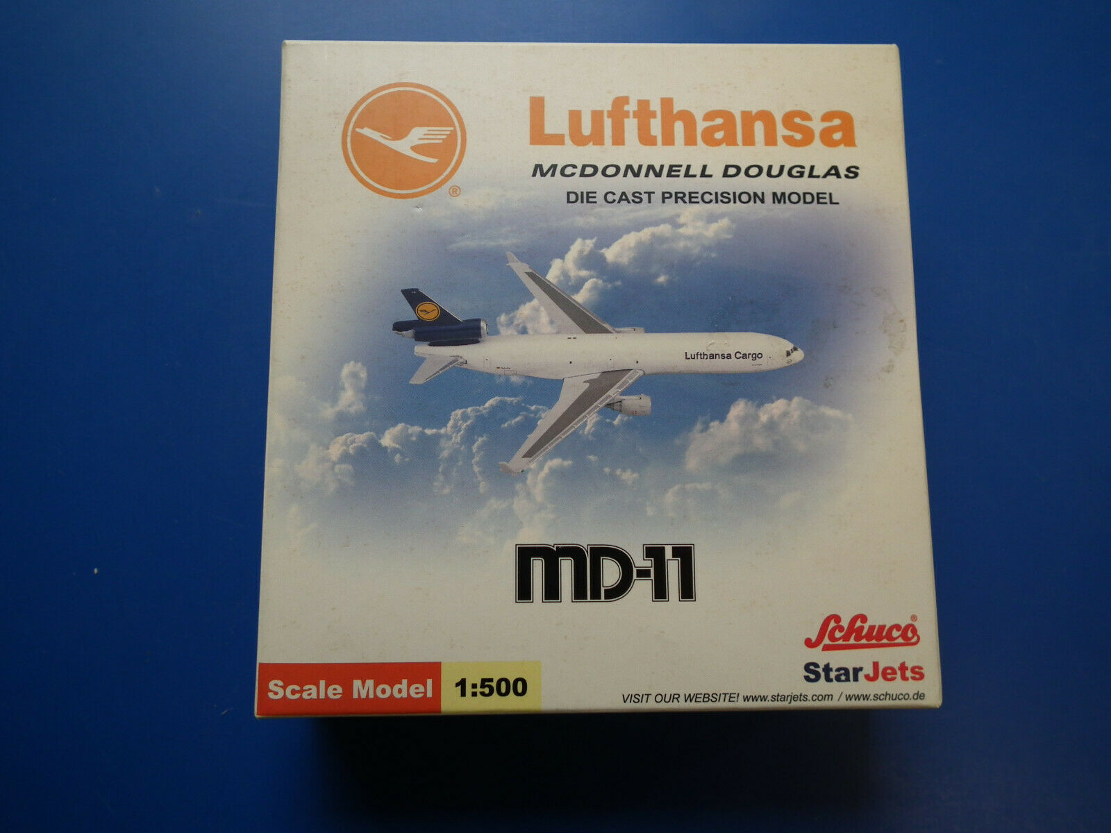 1 500- Star Jets Schuco Lufthansa-MCDONNELL DOUGLAS  OVP 2001 Reg Nr D-ALCN-MD11