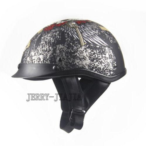 USA Pop! Skull EE Helmet Motorcycle Open Face Kawasaki DOT Half Helmet