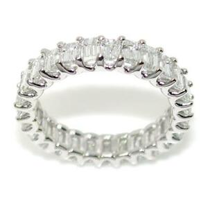 Eternity-Ring-Band-With-4-10-TCW-Emerald-Cut-Diamonds-18k-White-Gold-Size-7-25