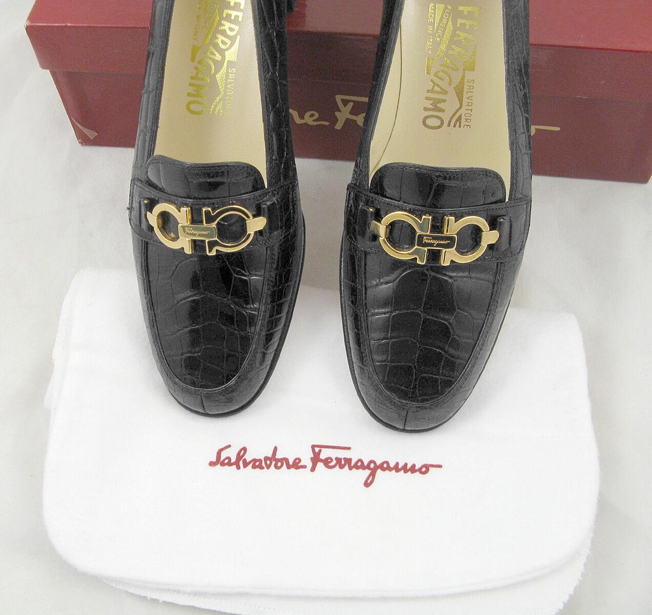 NEW Salvatore Ferragamo Alligator shoes shoes shoes  5 C   Black with gold Horsebit Hardware cbf48f