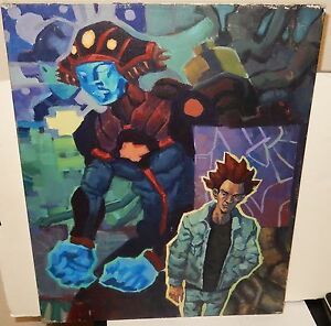 SUPER SAIYAN RED HAIR AND BLUE ROBOT ORIGINAL OIL ON CANVAS PAINTING
