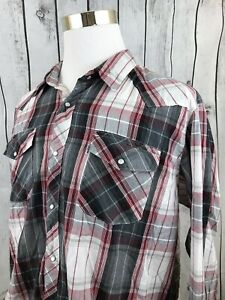 0efcf401 Levis Mens Western Pearl Snap Red Black Plaid Long Sleeve Button ...