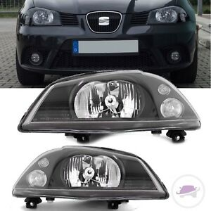 seat ibiza 6l1 scheinwerfer links rechts schwarz h4 02 08. Black Bedroom Furniture Sets. Home Design Ideas
