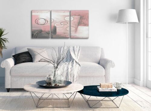 Abstract 3433-126cm 3 Piece Blush Pink Grey Painting Office Canvas Decor