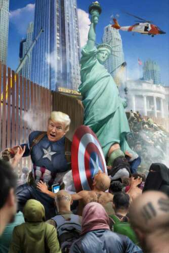 President Donald Trump Captain America Protects USA Border Wall Defend America