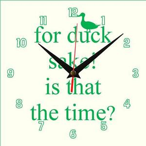 Hand-made-For-Duck-Sake-Wall-clock-novelty-gift-present-Personalise