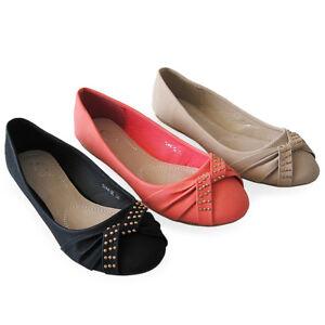 Damen-Freizeit-Ballerinas-Slipper-Nieten-Schuhe-2013-Halbschuhe-Lederoptik