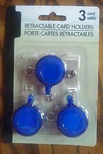 3 Blue Employee Retractable Reel Badge Belt Clip Lanyard Id Card Holder Nurse