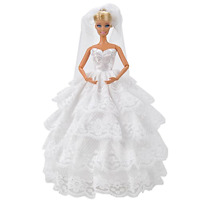 ETING Fashion Handmade Wedding Evening Party Dress Clothes Gown Veil Barbie Doll