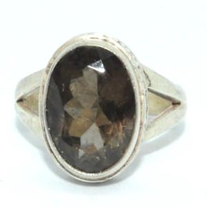 Sterling-Silber-traditionellen-asiatischen-Vintage-Style-Smoky-Quartz-Ring-Gr-m1-2-Geschenk