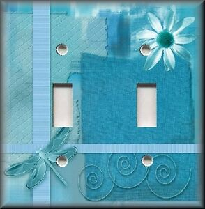 Light Switch Plate Cover Dragonfly With Flower Aqua Blue