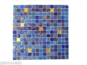 Glasmosaik Edelmosaik Mit Echten Gold Blau Mix LUXUS Mosaik - Glasmosaik fliesen blau