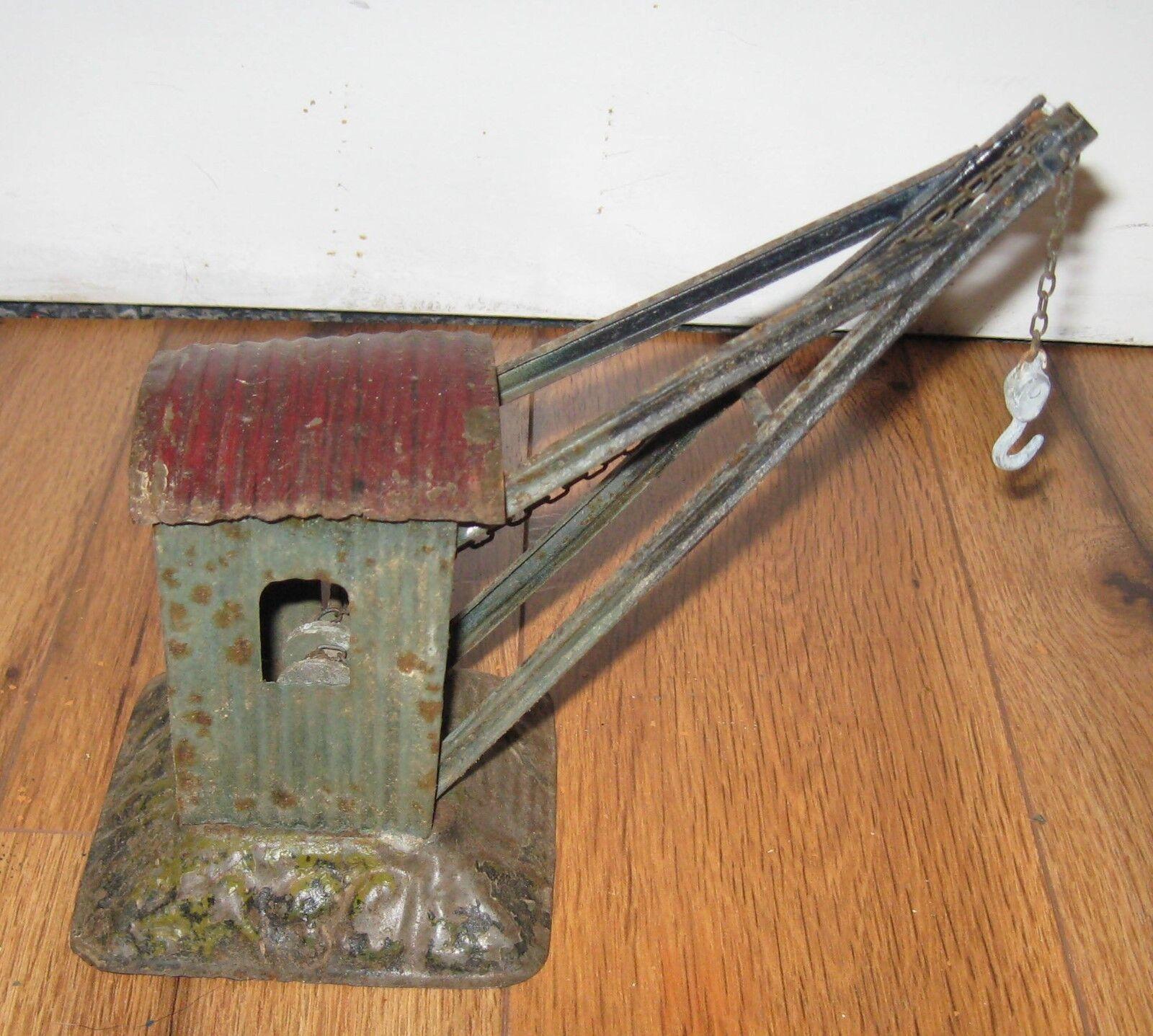Antique Prewar Bing German Tin Train Crane Rare Base Carette Marklin Bub Station