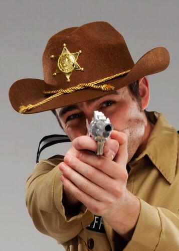 Adult Walking Dead Style Deputy Sheriff Brown Cowboy Hat