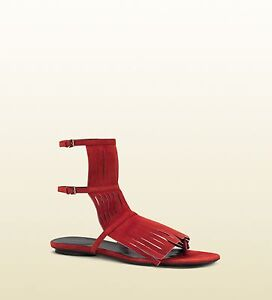 3c03f5134 Image is loading GUCCI-BECKY-Sexy-RED-Fringe-Gladiator-Thongs-Sandals-