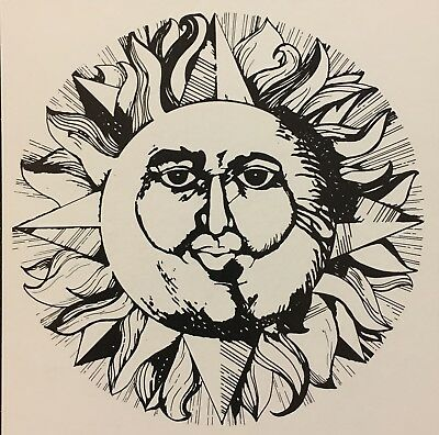 Vintage Original DICK SEEGER Woodcut Style #4 B/&W Sun Face Pop Art Card