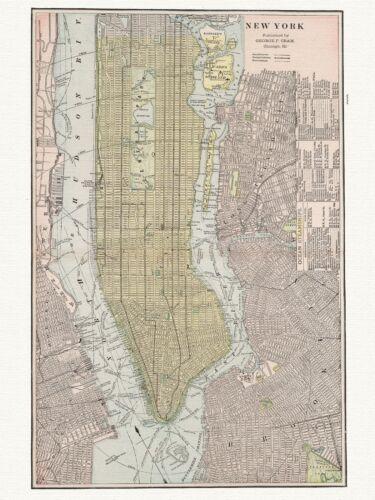 Old Vintage Decorative Map of New York Cram ca 1901