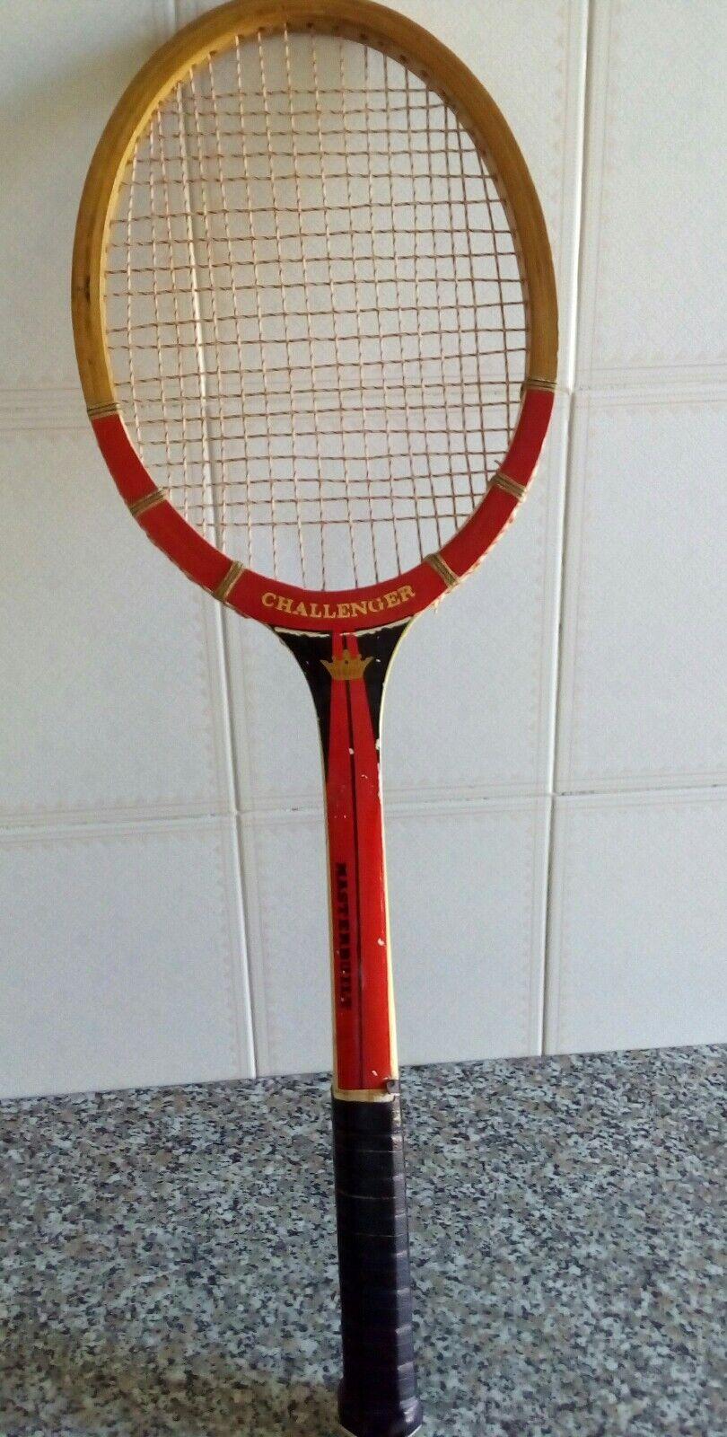Racchetta tennis legno vintage Challenger Masterbuilt collezione vetrina negozio