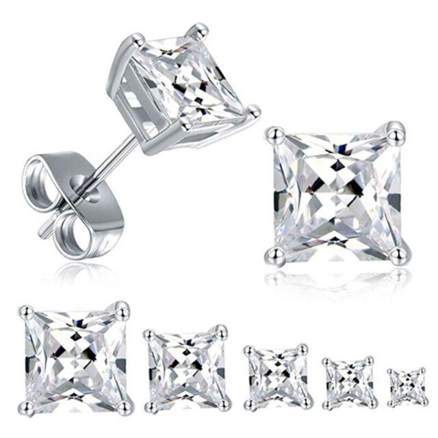 Crystal Star Silver Ear Studs Lady CZ Earrings 18K White Gold Plated Earrings