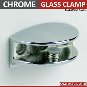 4-ADJUSTABLE-GLASS-SHELF-BRACKETS-CHROME-MIRROR-EFFECT-CLAMP-SUPPORT-4-to-10-m