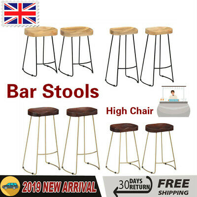 Fabulous Solid Mango Wood Gavin Bar Stools Kitchen Dining Breakfast High Chair Seat 2Pcs Ebay Caraccident5 Cool Chair Designs And Ideas Caraccident5Info