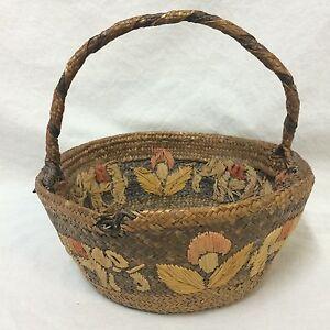 VTG-Hand-Woven-Fruit-Basket-Decorative-Elephant-Flower-Single-Handle-Brown-India