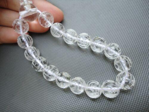 Vintage NOS Carved Chinese Rock Crystal Clear Quartz Prayer Bracelet Buddhist