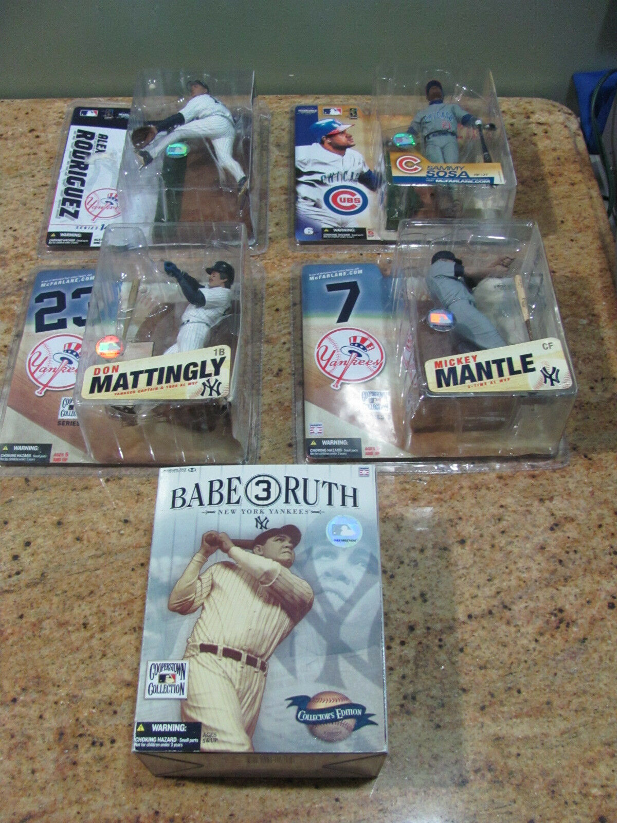 Lot of 4 McFarland Yankee Figures & Babe Ruth Cooperstown Collection, USC 555