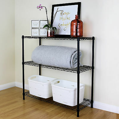 3 Tier Black Metal Storage Rack/Shelving Wire Shelf Kitchen/Office Unit 90cm