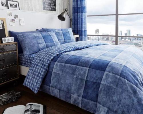 Nouveau bleu collection divers moderne designs imprimé réversible literie toutes les tailles