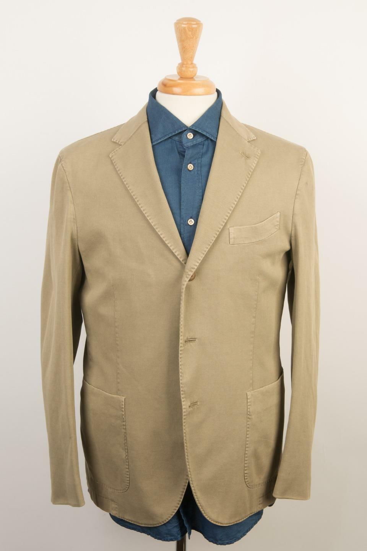 Boglioli Neuf avec Étiquettes 'Manteau' Beige Coton Texturé 3 Roll