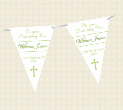 PERSONALISED CHRISTENING//NAMING DAY//BAPTISM CROSS BUNTING//BANNER 6 colours