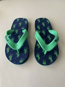 NIB-Polo-Ralph-Lauren-Green-Navy-Onima-Flip-Flop-Sandal-Toddler-Sz-10