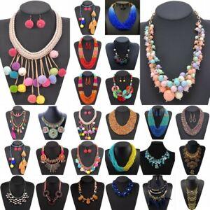 Women-Bohemia-Crystal-Flower-Tassel-Pendant-Bib-Choker-Chunky-Statement-Necklace